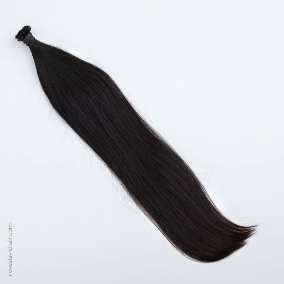 Jet Black #1 Russian Fusion Hair Extensions