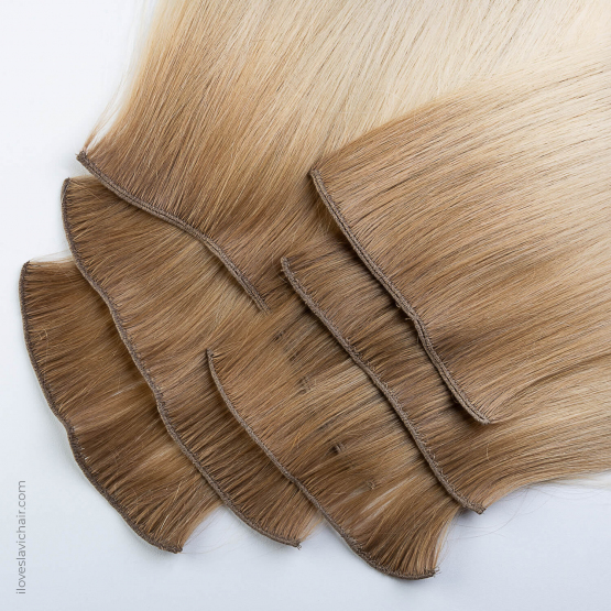 Ombre Blonde #613 & Light Brown Russian Hand-tied Weft Hair Extensions