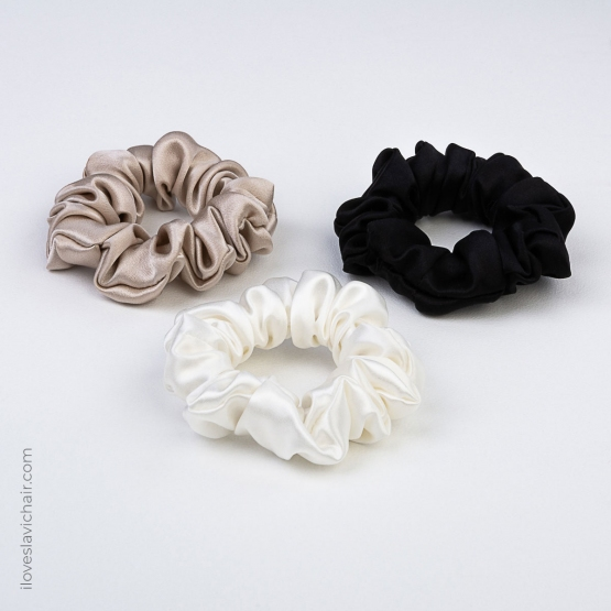 3 Pack Small Mulberry Silk Scrunchie Set #1