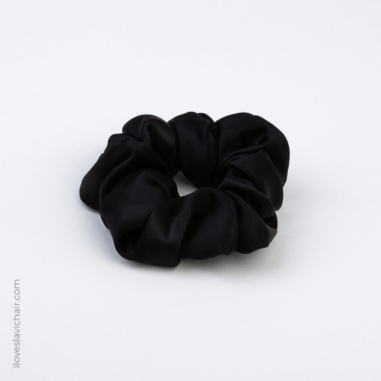 Large Mulberry Silk Scrunchie Black