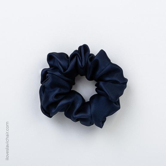 Large Mulberry Silk Scrunchie Dark Blue