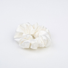 Large Silk Scrunchie White