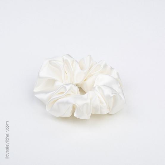 Large Mulberry Silk Scrunchie White