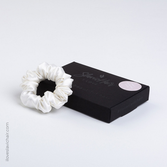 Small Mulberry Silk Scrunchie White