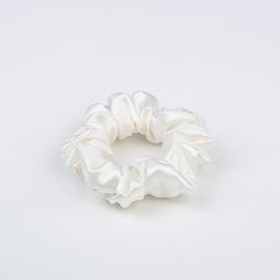 Small Silk Scrunchie White