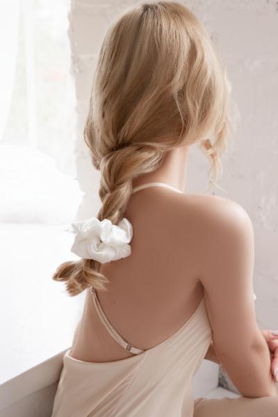 braid with silk scrunchies