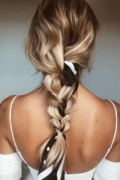 braids with small silk scarf