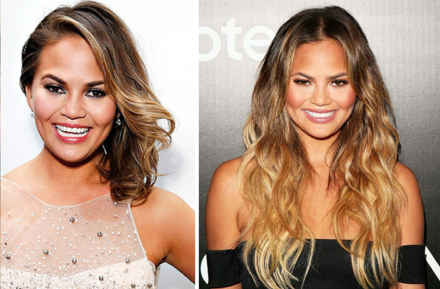 Chrissy Teigen hair extensions before and after
