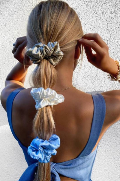 double ponytail with silk scrunchie