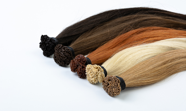 Hot fusion hair extensions with micro bonds