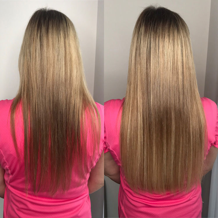Hot Fusion Hair Extensions Example Before and After - 4