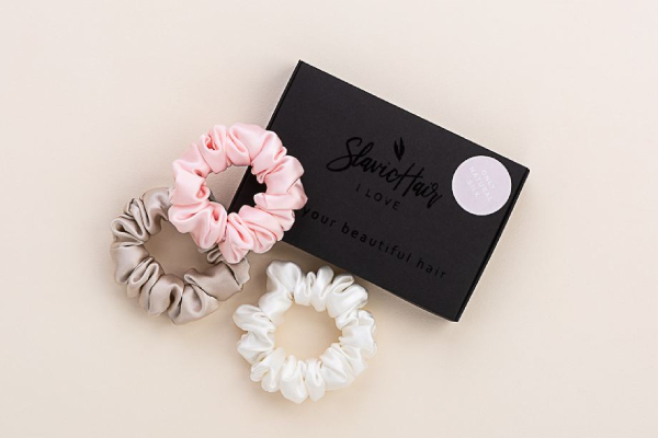 I Love Slavic hair silk scrunchies set