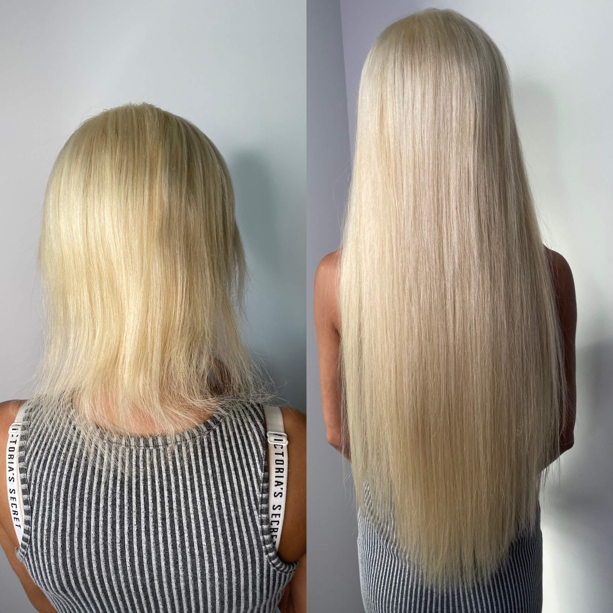 Hot Fusion Hair Extensions Example Before and After - 2