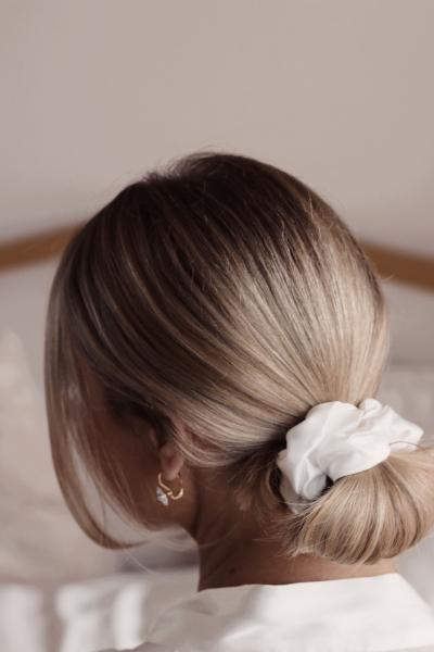 smooth bun with silk scrunchie