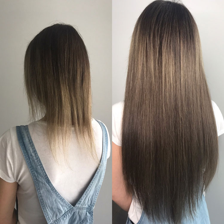 Hot Fusion Hair Extensions Example Before and After - 7