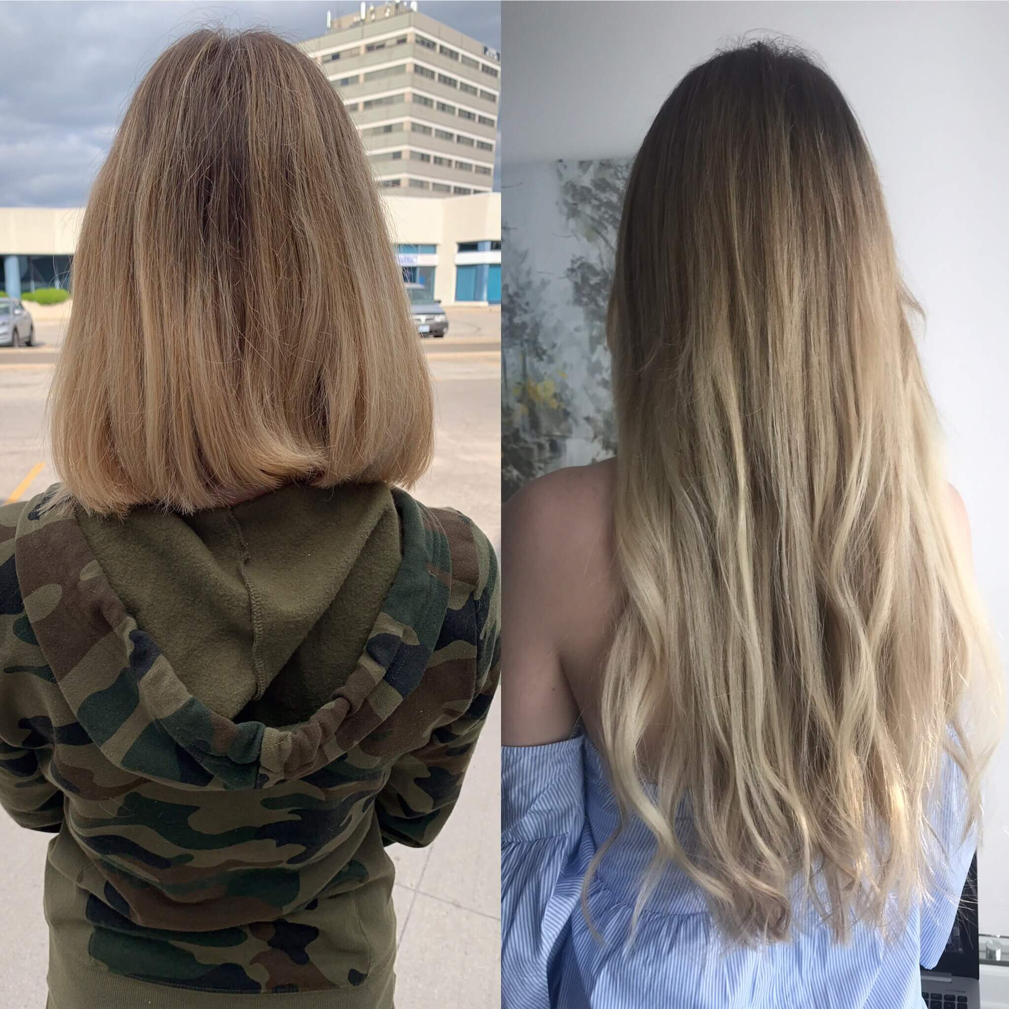 Hot Fusion Hair Extensions Example Before and After - 1