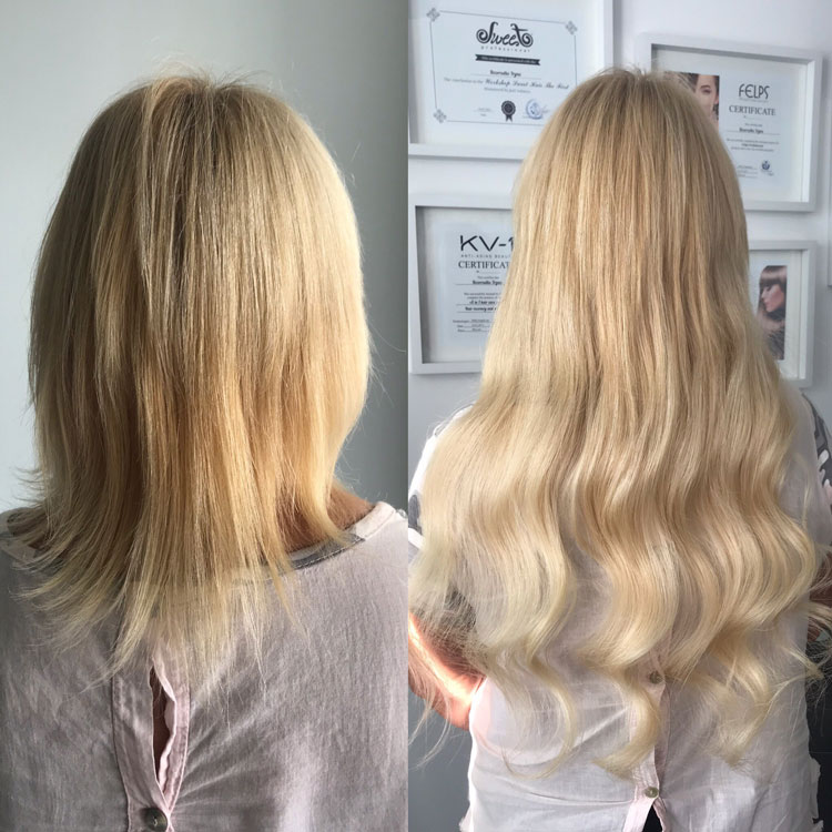 Hot Fusion Hair Extensions Example Before and After - 6