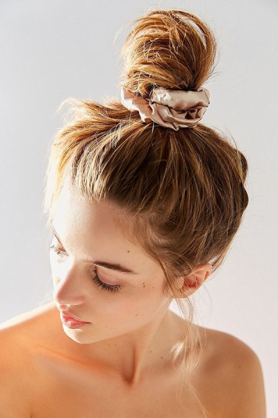 top knot with silk scrunchie