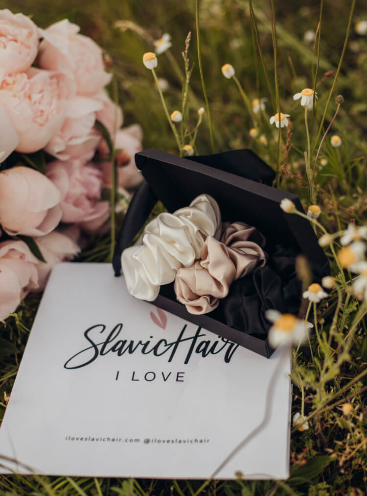 Mulberry silk scrunchies by I Love Slavic Hair